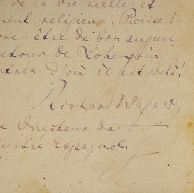 Detalle de la carta autógrafa de Richard Wagner.