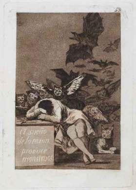 """Francisco de Goya, """"El sueño de la razón produce monstruos"""" (Serie Caprichos), 1796-1799 (13. edizioa / 13a edición, 1970 ). Obra presente en la exposición de San Sebastián."""